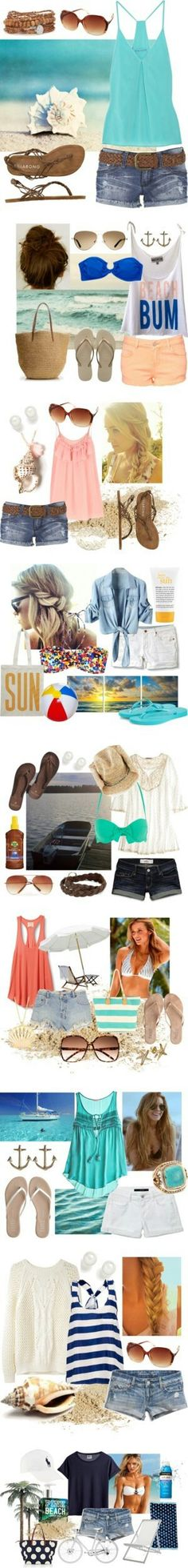 Beach Style: Dreaming of Summer.all the shorts are rather short, but cute outfit ideas! Summer Wear, Spring Summer Fashion, Summer Outfits, Summer Clothes, Beach Outfits, Spring Break, Beach Clothes, Summer Time, Summer Days