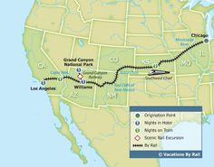 Southwest Chief with the Grand Canyon - Chicago to Los Angeles