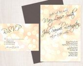 Printable Elegant Bokeh Wedding Invitation and RSVP-Print Yourself-Digital File