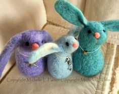 Michelle Palmer blue felted bunnies