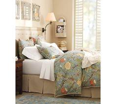 Love the bed skirt!  Wells Palampore Duvet Cover & Sham - Blue | Pottery Barn