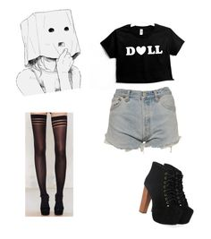 """""""doll <3"""" by melancholytownn ❤ liked on Polyvore featuring beauty, Levi's and Jeffrey Campbell"""