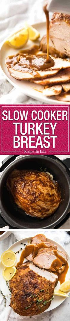 Slow Cooker Turkey Breast with Gravy - the easiest and safest way to make juicy turkey breast without brining! www.recipetineats.com