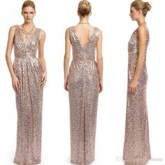 2016 Sparkly Rose Gold Sequins Bridesmaid Dress Column Floor Length Deep V Neck Plus Size Custom Made Maid Of Honor Wedding Party Gowns Maxi Bridesmaid Dresses Midnight Blue Bridesmaid Dresses From Lovemydress, $86.2| Dhgate.Com