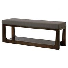 "Add a lovely touch to your entryway or den with this sleek bench, showcasing an upholstered seat and java-hued finish.  Product: BenchConstruction Material: Wood and metalColor: JavaFeatures:One lower shelfDimensions: 21"" H x 54.5"" W x 16.5"" D"