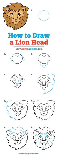 Learn How to Draw a Lion Head: Easy Step-by-Step Drawing Tutorial for Kids and Beginners. #LionHead #DrawingTutorial #EasyDrawing See the full tutorial at https://easydrawingguides.com/how-to-draw-lion-head/.