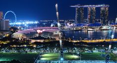Marina Bay Singapore... an update.  A bird's eye view from Sky Lounge at Peninsula Excelsior Hotel Singapore.