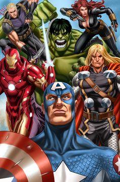 The Avengers by Noval Hernawan & Slamet Mujiono Marvel Avengers Comics, Marvel Avengers Assemble, Avengers Characters, Avengers Art, Marvel Comic Universe, Batman Comics, Marvel Heroes, Marvel Dc, Anaconda