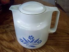 VINTAGE CORNING WARE BLUE CORNFLOWER PATTERN THERMAL CARAFE GEZI ~ WEST GERMANY