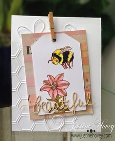 Justine's Cardmaking, Scrapbooking and Papercrafting: 'Some Bunny Special' JessicaLynnOriginal Blog Hop I created this simple bee themed card. I did a partial emboss onto the card base using a honeycomb embossing folder. I added some patterned paper and created the tag. http://www.jessicalynnoriginal.com/jessicalynnoriginal-happy-easter-some-bunny-special-clear-rubber-stamp-set/