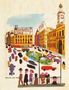 Estas ilustraciones pertenecen a un folleto turístico de Madrid de los años 60 que encontré hace tiempo en el rastro. El autor era todo un Miroslav Sasek castizo! :D