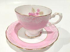 Delightful Pink Tuscan Teacup and Saucer, Tea Set, Tea Cup, Vintage Teacups, Antique Tea Cups, Pink Tea Cups, Bone China Cups, Pink Rose by AprilsLuxuries on Etsy