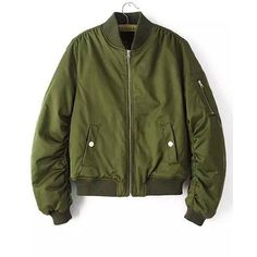 Yoins Military Quilted Bomber Jacket (€38) ❤ liked on Polyvore featuring outerwear, jackets, tops, yoins, coats & jackets, green, green military jacket, green flight jacket, flight jackets and puffy jacket
