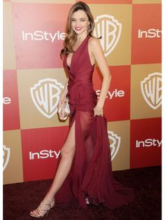 #MirandaKerr rocked an oxblood #ZuhairMurad gown that didn't leave much to the imagination. #GoldenGlobes2013
