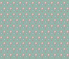 Fun bathtime for little Elley- flowers blue fabric by bora on Spoonflower - custom fabric