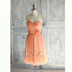 Peach bridesmaid dress Chiffon party dress Strapless by RenzRags