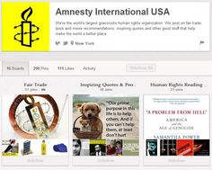 Amnesty International USA We're the world's largest grassroots human rights organization. We post on fair trade, book and movie recommendations, inspiring quotes and other good stuff that help make the world a better place.