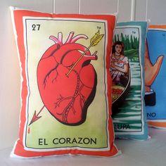 El Corazon Heart Mexican Loteria Throw Pillow - Christmas / Dia De Los Muertos / Day of the Dead. $26.00, via PillowandPocket on Etsy.