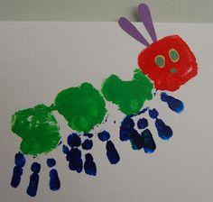 Caterpillar Hand-print art  #YoYoBirthday