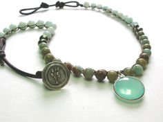 "Bohemian crochet necklace ""Sandpiper"" seafoam chalcedony pendant necklace, leather, crochet jewelry, bezel necklace, amazonite, aqua terra,. $62.00, via Etsy."
