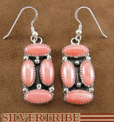 Native American Indian Navajo Jewelry Pink Coral Sterling Silver Hook Dangle Earrings