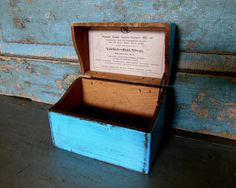 Recipe Box Wooden Turquoise Distressed by turquoiserollerset, $12.00