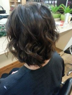 Corrective color: Brunette with soft balayage highlights. Color and cut by Deborah, style by Ariel.