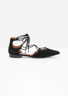 & Other Stories image 1 of Lace-Up D'Orsay Flats in Black