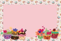 Resultado de imagem para convite de aniversario para editar e imprimir gratis Party Sweets, Candy Party, Cupcake Icon, Bakery Logo Design, Cake Logo, Hello Kitty Birthday, Frame Background, Borders And Frames, Floral Theme