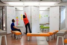 Movable furniture and white boards to write out concepts, disease processes, algorithms for students to work in groups and share ideas,  critical thinking process, or mind mapping.