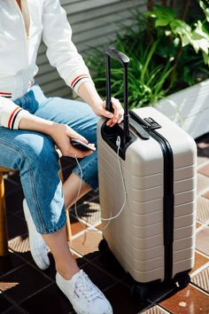 The suitcase with a phone charger