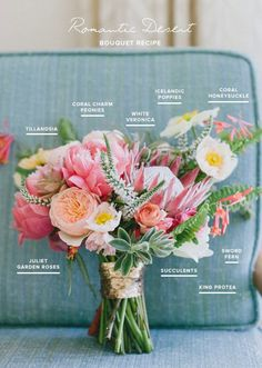 This beautiful boquet was styled for a bright, cheery desert wedding by combining these ingredients: Tillandsia, Coral CharmPeonies, White Veronica, Coral Honeysuckle, Juliet Garden Roses, Sword Fern, a hint of Succulent, and that Vibrant King Protea.  We love how the sword ferns pop out around the edges for a playful edge, while the pops of white keep it romantic and fresh.