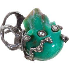 Lucifer Vir Honestus Chrysoprase & Diamond Skull Ring ($11,995) found on Polyvore