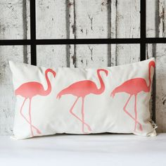 Handmade ombre effect flamingo pillow. This design is made from a high weight 40% cotton 60% linen fabric, and is designed to fit nicely onto