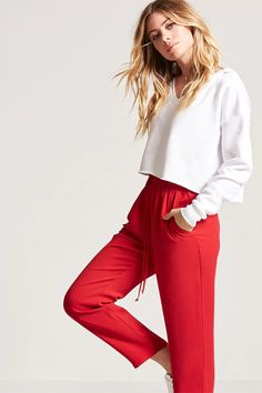 High-Rise Crepe Trousers | Forever21