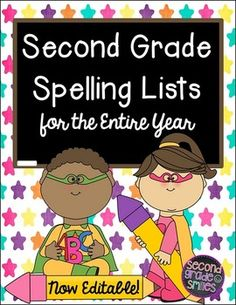 Second Grade Spelling Lists for the Entire Year- 37 editable, Common Core aligned spelling lists ready to print and send home! $
