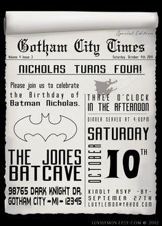 Batman Invitation Batman Invitations Batman Invites by LuxyLemon