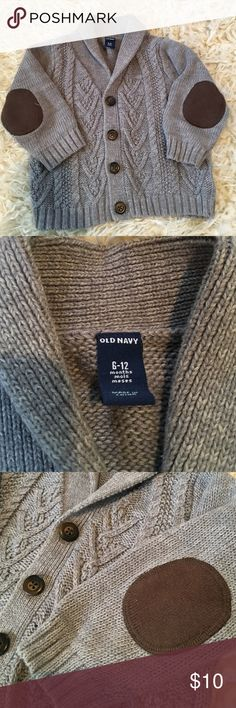 OLD NAVY Button Down Sweater Elbow Patches 6-12mo Old Navy button down. 6-12 mon boys. Brown elbow patches. Excellent condition. Rolled collar. Old Navy Shirts & Tops Sweaters