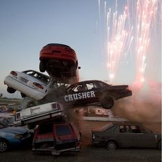 natgeoPhoto by @brianlehmannphotography | American daredevil Spanky Spangler crashes through a stack of cars driving 60 mph during a stunt show at the I-80 Speedway in Greenwood, Nebraska. Spangler walked away on crutches and jumped from a crane a few minutes later. https://instagram.com/p/53Qs5AIVXo/?taken-by=natgeo