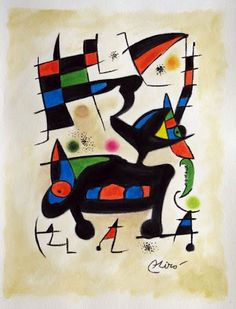#Miro, Spanish painter  Looks a little like Kandinsky abstract These 2 painters seem to have alot in common when it comes to K's abstract and Miro's work in general.