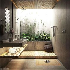 Bathroom inspiration to kick off my working week! Project by: Ali Mohseni . Open Bathroom, Dream Bathrooms, Bathroom Plants, Bathroom Goals, Bathroom Bath, Bathroom Interior Design, Interior Decorating, Design Bedroom, Indoor Outdoor Bathroom