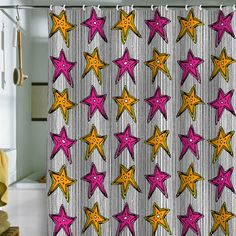 Sharon Turner Stars On Stripes Shower Curtain