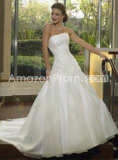 Organza Embroidering Strapless Wedding Dresses Chapel Train