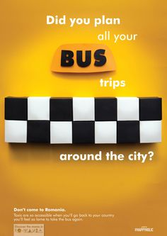 These Romanians are crazy - Ioana Negulescu, a young Romanian graphic. Bus Travel, Taxi, Romania, Advertising, Posters, Graphic Design, How To Plan, Yellow, Projects