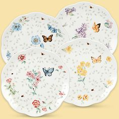 Butterfly Meadow® 4-piece Assorted Petite Dessert Plate Set  by Lenox