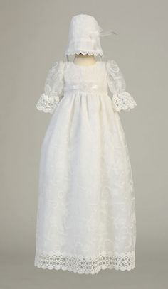 Girls Baptism-Christening Gown Style CHARLOTTE - WHITE Embroidered Tulle Gown  Stunning embroidered tulle gown with short sleeves. The great part about this ensemble is that you can always wear the dress without the bonnet as this would make a gorgeous gown for a young child in a wedding also. Outfit comes with everything that is pictured.  http://www.flowergirldressforless.com/mm5/merchant.mvc?Screen=PROD&Product_Code=L_CHARLOTTE&Store_Code=Flower-Girl&Category_Code=White