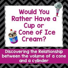 This inquiry activity allows students to discover the relationship between the volume of a cone and the volume of a cylinder.  After the formula is derived, students are given additional opportunities to apply the formula to realistic scenarios.Please leave feedback on this product and consider following my store as I work to increase my middle school math products.