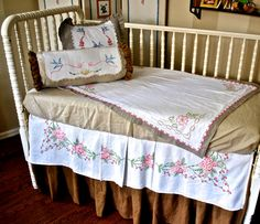 Shabby Chic Crib Bedding Baby Bedding, Beautiful Embroidered Details