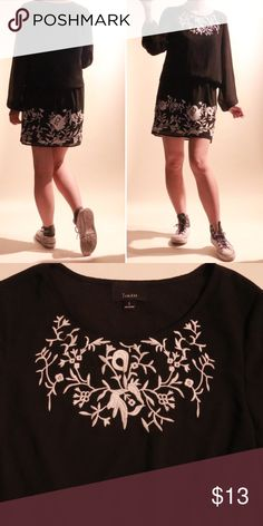 "Lumiere Black Embroidered Dress Sz Small • vintage/ in excellent condition! • Lumiere Dress • black bloussant sleeves with loose body/ adorable embroidery detail • Sz small • length - 33"" • chest - 17"" • very soft crepe chiffon fabric! Lumiere Dresses Mini"