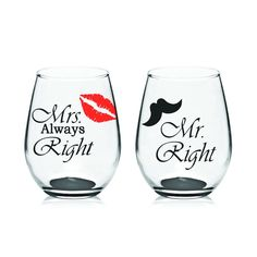 These wine glasses make the perfect gift for weddings and engagement parties. Decorated with high quality vinyl. Hand washing is recommended.